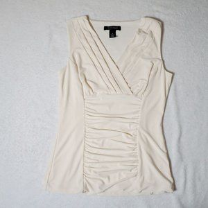 White Ruched Sleeveless Top